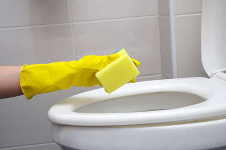 inodoro: la limpieza del primer inodoro Foto de archivo