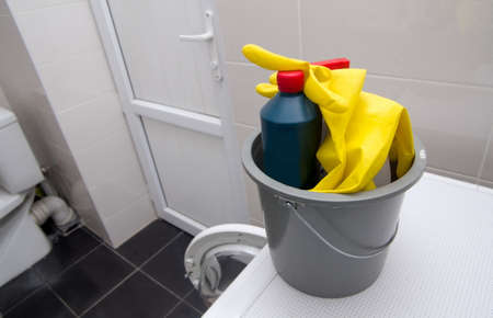 servicio domestico: washing stuff closeup in bucket