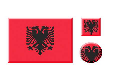albania: albania icons set on white Stock Photo