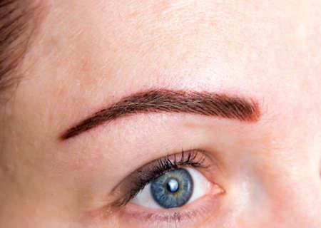 closeup of the permanent brow tattoo