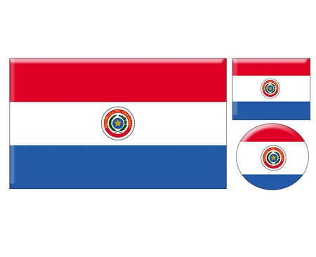 paraguay: Paraguay icons set on white