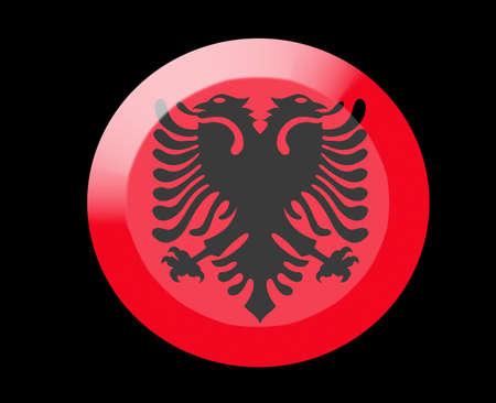 albania: albania icons set on black Stock Photo