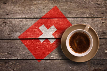 switzerland flag: Switzerland flag with coffee on table. top view Stock Photo