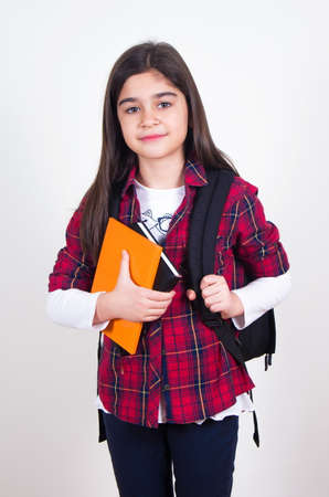 young schoolgirl: pretty schoolgirl with bag