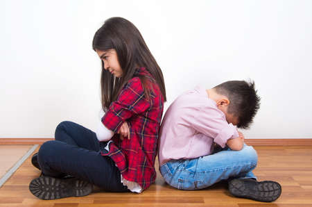 nice face: upset brother and sister together Stock Photo
