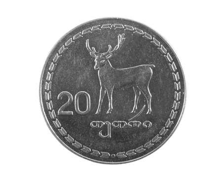 georgian: georgian money lari coins on white