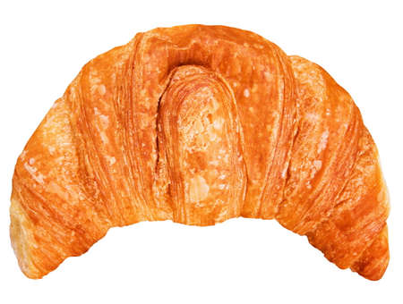 traditionally french: single croissant isolated on white Stock Photo
