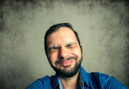 funny bearded man: funny bearded man taking selfie shot