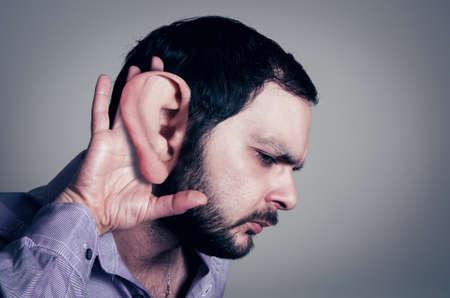 big ear: bearded man with the big ear Stock Photo