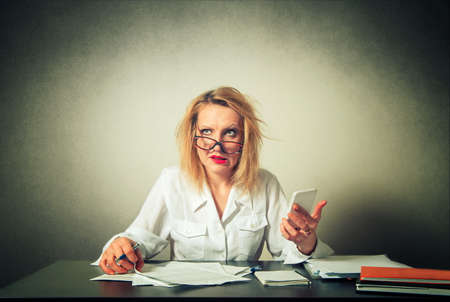 troubles: busy business woman having troubles