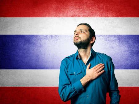 hymn: patriot man standing closeup portrait