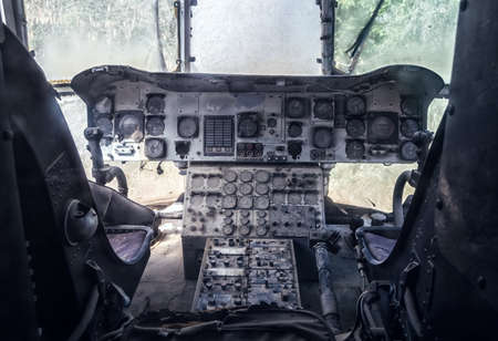 altimeter: Old abandoned cockpit of the helicopter Stock Photo