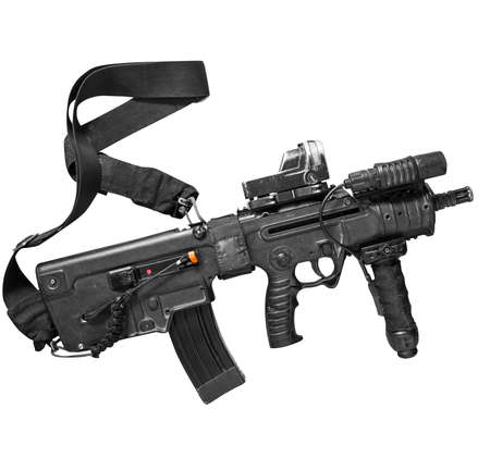 special steel: Israeli assault rifle Tavor on white