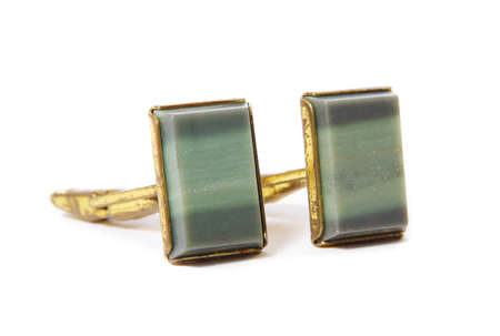 cuff: Vintage stone cuff links on white