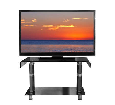 Tv on the stand with picture Stock Photo