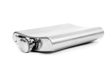 Alcohol flask on the white
