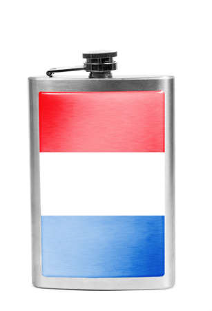 Alcohol flask with flag on the white Stok Fotoğraf