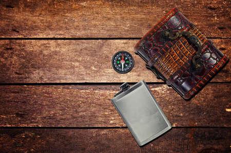 Vintage objects, flask,chest box,compass Stok Fotoğraf