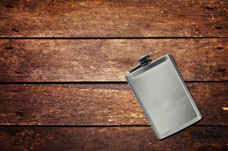 Alcohol flask on the table