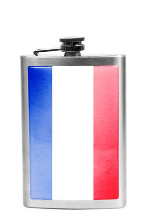 Alcohol flask with flag on the white.