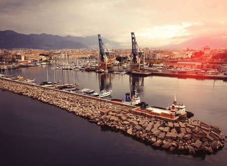 Ship port in the sunset. Italy