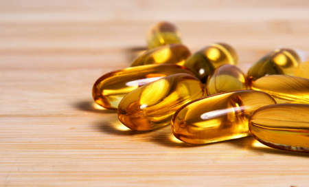Fish oil pills closeup