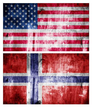 Two flags wooden textured. Relations Banco de Imagens