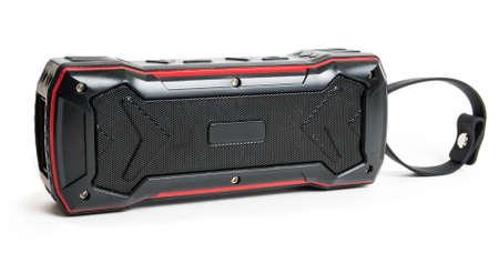 Portable audio speaker on the white