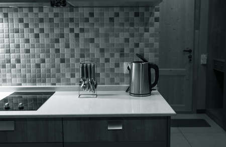 Interior of modern studio room kitchen Banco de Imagens
