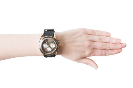 Female hand with the wrist watch Stock Photo