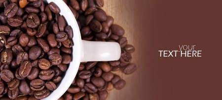 Granos de café con espacio de copia. Foto de archivo