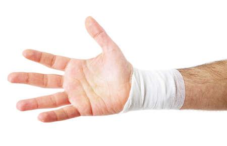männliche Hand mit dem Verband