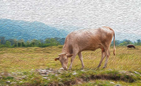Digital oil painting of cows in the field