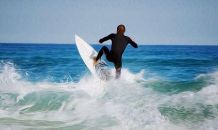 Digital oil painting of young surfer in ocean