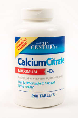 TBILISI, GEORGIA- April 18, 2020: Calcium citrate medical pills by 21 Century company 報道画像