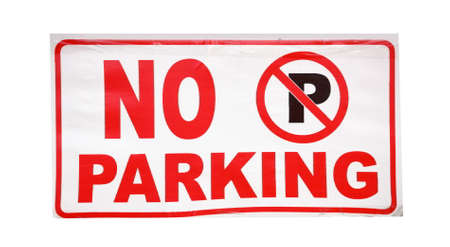 Closeup of the no parking sign