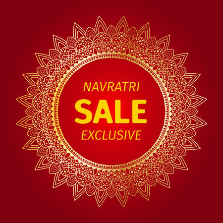 Happy Navratri gold sale mandala design background Illustration