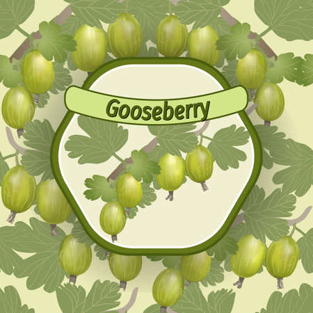 gooseberry with berries and branches, vector label
