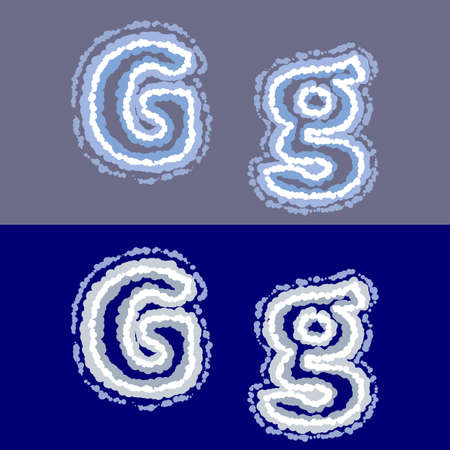 vector air letter G on grey and blue background