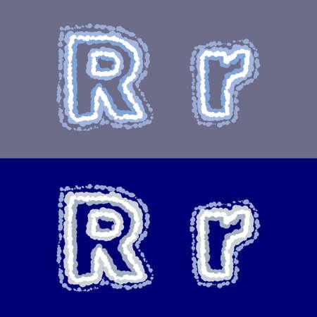 vector letter R op grijze en blauwe achtergrond