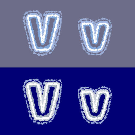 vector letter V on grey and blue background 矢量图像