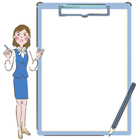 Note communication by writing clipboard and woman illustration Vettoriali