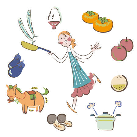 The woman is cooking  illustration