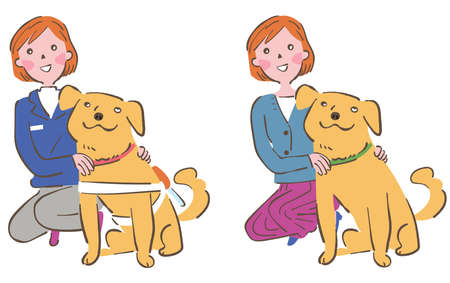 Dog and woman, Dog and trainer Set Illustration Stock Illustratie