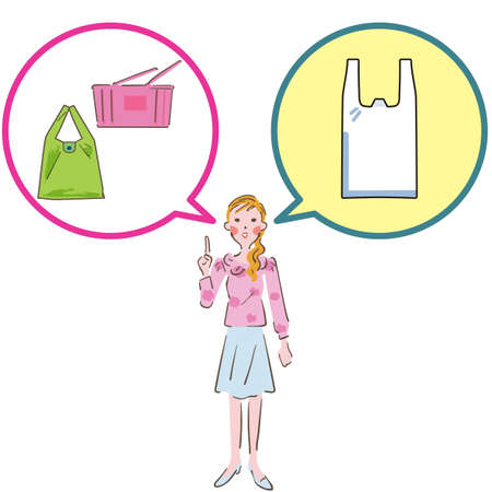 Woman thinking about shopping bag illustration