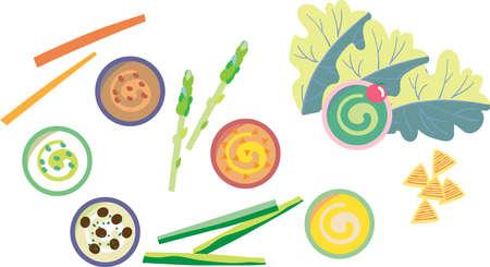 Stick vegetables and dip illustration set