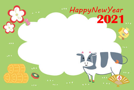 2021 New Year's card New Year's good luck charm and cattle postcard templates 向量圖像