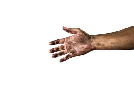 pobreza: mano sucia aislado en un fondo blanco  Foto de archivo
