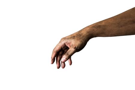 manos sucias: mano sucia aislado en un fondo blanco  Foto de archivo