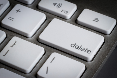 Closeup of delete key in a keyboard.